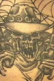 黑白土匪骷髅枪纹身图案