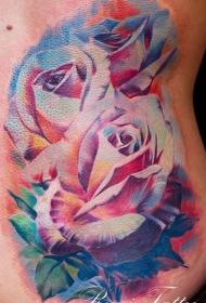 腰侧彩色逼真的玫瑰花纹身图案