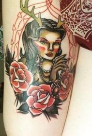 老漫画像彩色奇怪女人的肖像纹身图案