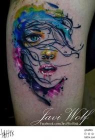 手臂水彩色女孩肖像纹身图案