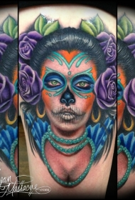肩部彩色墨西哥传统女性纹身图案
