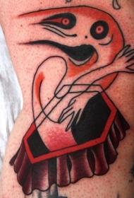 腿部彩色个性的橙色鬼纹身