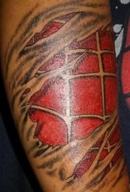 手臂彩色个性撕皮纹身图案