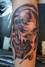 手臂棕色怪物骷髅纹身图案