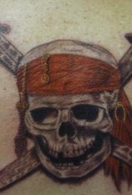 肩部彩色加勒比海盗骷髅纹身图案