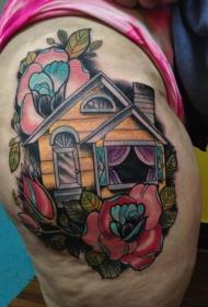 新风格的彩色大腿玫瑰老房子纹身图案