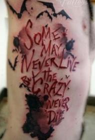 腰侧彩色血腥英文字母纹身图片