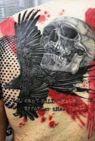 PS图象处理软件风格的乌鸦与人类骷髅纹身