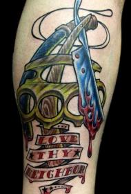 手臂彩色英文字母纹身图片