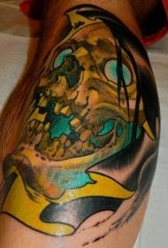 腿部彩色骷髅头纹身图片