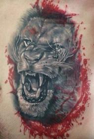 腰侧彩色咆哮虎头纹身图案