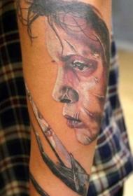 手臂彩色剪刀手爱德华纹身图案