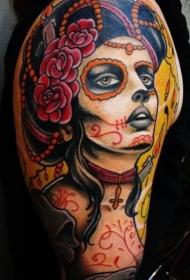 肩部彩色死亡女郎纹身图片