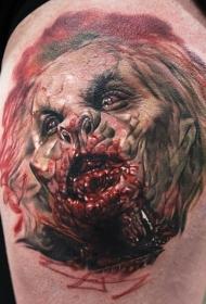 腿部彩色恐怖电影怪物纹身图案