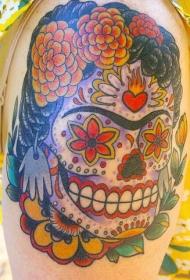 肩部彩色弗里达糖骷髅纹身图片
