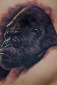腰部严峻的黑色墨水大猩猩纹身图案
