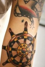 手臂彩色船舶方向盘纹身图案