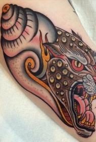 新的学校风格的彩色怪物头老虎纹身