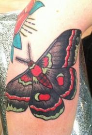 腿部彩色鲜艳的飞蛾纹身图片