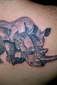 肩部有阴影的机器犀牛纹身图案