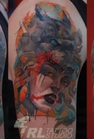 肩部水彩风格神秘女人肖像纹身图案