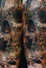 肩部全新风格的彩色人类头骨纹身图案