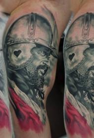 肩部彩色的中世纪武士肖像纹身