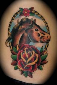 肩部彩色传统马与玫瑰纹身图片