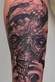 手臂棕色丑陋的怪物骷髅纹身图片