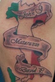 肩部彩色意大利纪念地图纹身
