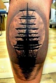 腿部黑灰日落下的船纹身图案