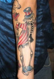 手臂彩色山姆叔叔的骷髅纹身图案