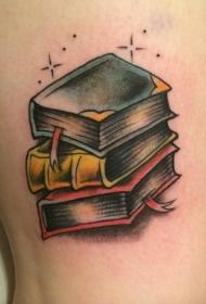 腿部彩色old school书籍纹身图案