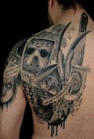 肩部逼真的恐怖电影英雄肖像纹身