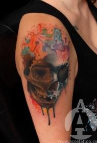 肩部水彩画风的人类骷髅纹身图案