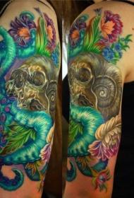 现代传统彩色神秘怪物与骷髅纹身图案