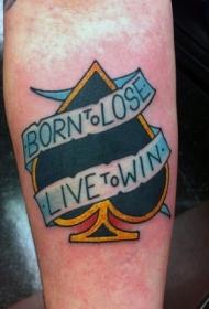 手臂彩色黑桃与字母纹身图案