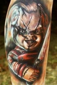 腿部彩色恐怖电影色狂玩偶纹身图片