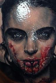 肩部现实血腥的女吸血鬼纹身图案