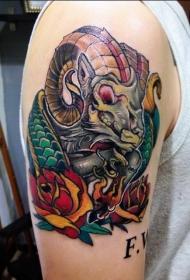 肩部彩色山羊骷髅头纹身图案