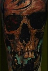 手臂旧风格彩色损坏骷髅头纹身图案