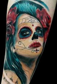 手臂彩色死圣女神与玫瑰纹身图片