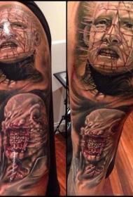 肩部逼真的恐怖怪物英雄肖像纹身