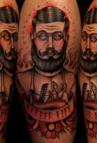 肩部新的学校风格男子纹身图案