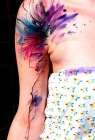 肩部生动色彩水彩抽象纹身图案