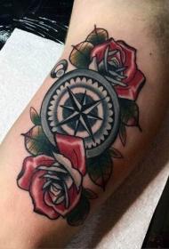 手臂彩色有趣的航海主题指南针纹身