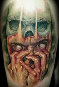 肩部彩色幽灵般的梦魇人物纹身图片