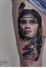 腿部素描风格的彩色印度女人纹身