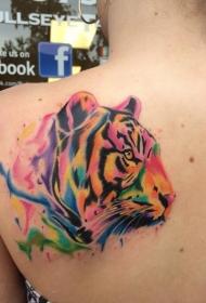 肩部水彩色老虎头纹身图案