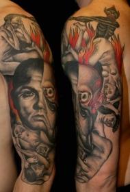 肩部彩色恐怖电影彩色各种怪物纹身